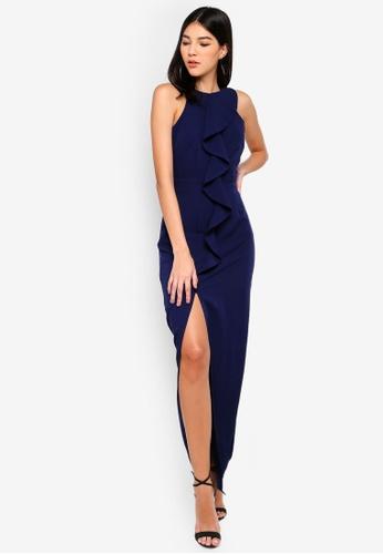 Paper Dolls blue Frill Front Maxi Dress 78421AAB9154D8GS_1