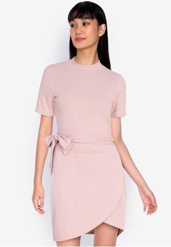 ZALORA BASICS pink Turtle-Neck Fake Wrap Dress A6FC7AACD77E30GS_1