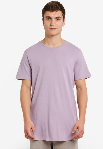 Cotton On 紫色 延繩 Scoop 下擺 T卹 CO372AA0RZ7YMY_1