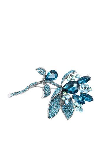 Red's Revenge blue Floral Branch Broch B8551ACD1CA8DEGS_1