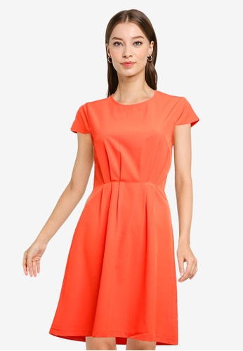 ZALORA WORK orange Pleated Detail Short Sleeve Dress 388C5AA6FA5141GS_1
