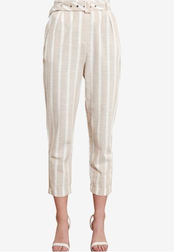 Trendyol multi Belted Stripe Trousers E42E8AAE598DF9GS_1