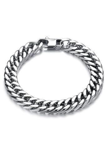 CUFF IT silver 9mm Stainless Steel Cuban Chain Bracelet D58F3AC270C64BGS_1
