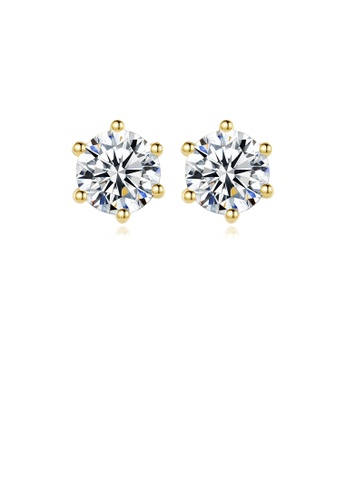 Glamorousky white 925 Sterling Silver Plated Gold Simple Classic Geometric Round Cubic Zirconia Earrings 63310ACFD43BBDGS_1
