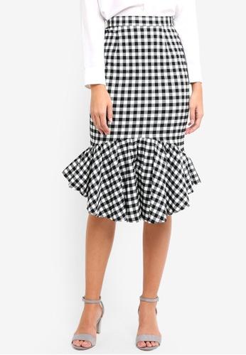 MDSCollections black Gingham Mermaid Skirt In Black EFF0AAA7AB9AF6GS_1