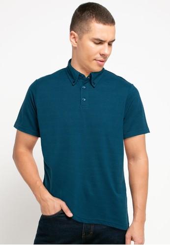 Tolliver blue Button Detail Polo Shirt B9949AAB59DDE7GS_1
