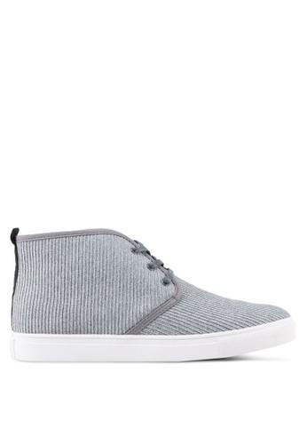 JAXON grey Fabric High Top Sneakers 079FASH4696E32GS_1