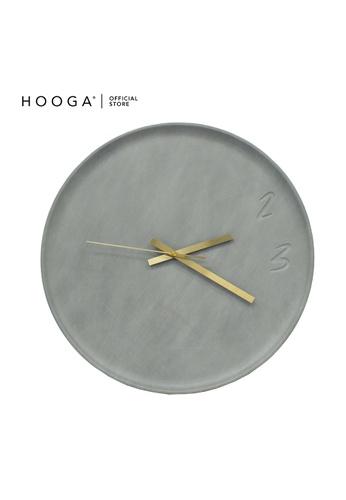 HOOGA grey and gold Hooga Wall Clock Leo 19C88HL05BDE13GS_1