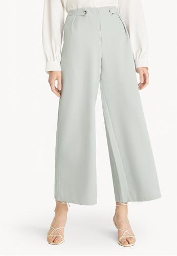 Pomelo grey Buckle Detail Wide Leg Pants - Light Grey 579D6AA8627AE2GS_1