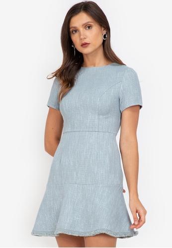 ZALORA WORK multi Fluted Hem Tweed Dress 4901CAAB816B33GS_1