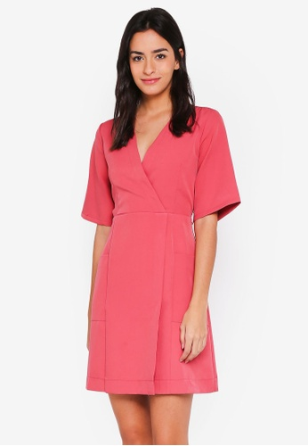 ZALORA pink Kimono Dress With Contrast Stitching 5A026AAE48259EGS_1