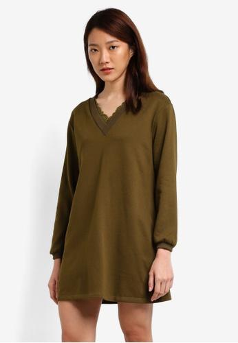 Something Borrowed green Lace Trim Sweater Dress 1816DAABBD725DGS_1