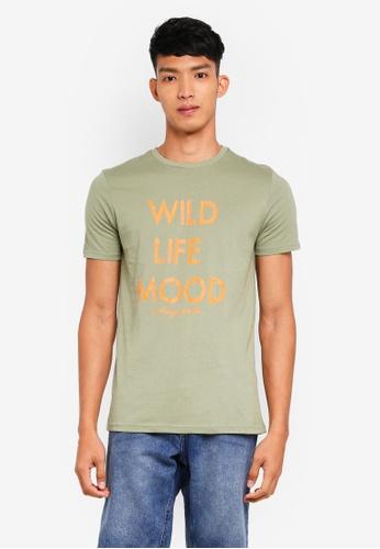 OVS 綠色 短袖印花T恤 E0B31AA607E605GS_1