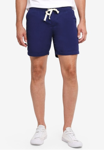 Penshoppe 海軍藍色 休閒抽繩錐形短褲 30BE1AA6AD061EGS_1