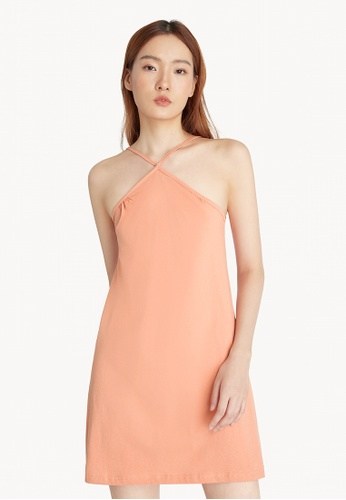 Pomelo orange Halter Neck Slip Dress - Orange 50CA3AA82234FCGS_1