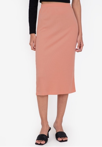 ZALORA BASICS orange Midi Ribbed High Waist Skirt 18AFBAA741211FGS_1
