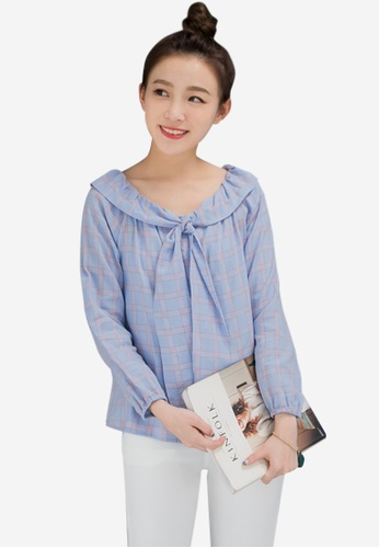 Sesura blue Sweetest One Plaid Top 6508FAA0FDDD24GS_1