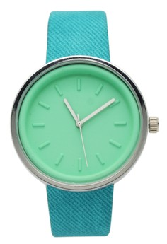 Round Colored Women's Leather Strap Watch