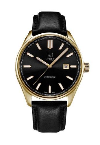 Wulf black Wulf Alpha Gold and Black Leather Watch 433A1AC8754E80GS_1