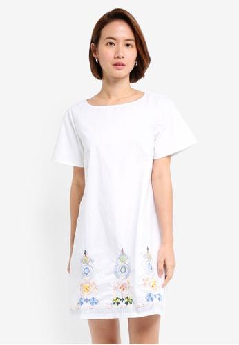 ZALORA white Embroidered Bottom Dress 5A589AA6CC87CEGS_1