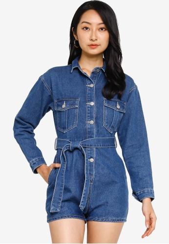 ZALORA BASICS 藍色 長袖綁帶連身短褲 32DA1AA2F7061AGS_1
