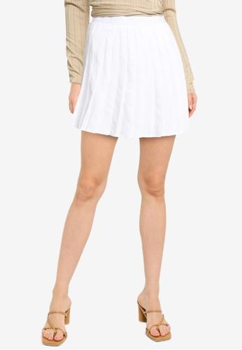 MISSGUIDED white Pleated Mini Skirt DB14DAA66DBC7FGS_1