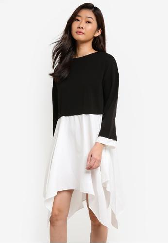 ZALORA black and white Contrast Shirting Asymmetric Dress D0D42AACECA8C6GS_1