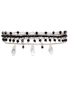 f89ff65673f9a8 HIPANEMA black and multi and silver Medium multi chain beaded bracelet  Diego black 102D2AC9908158GS_1