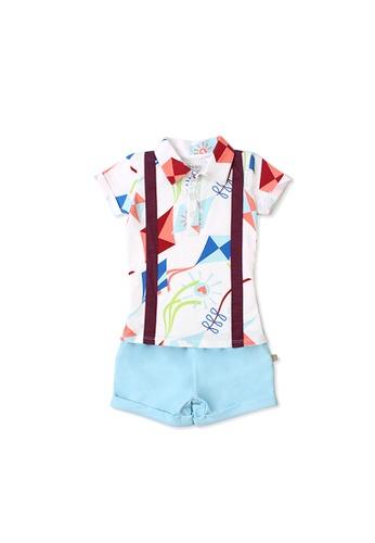 OETEO white and multi Road Trip Easyeo Suspenders Romper Shorts (White) 3F679KAA2E4547GS_1