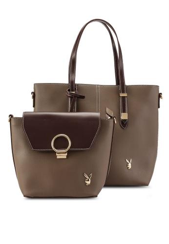PLAYBOY BUNNY brown 2 in 1 Elegance Bag 61D81AC5D14081GS_1
