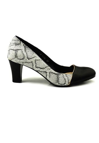 SHINE black and grey Round Toe Snake Skin Heels 70D0ESHA7297F2GS_1