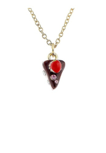 Glamorousky silver Glistering Strawberry Chocolate Cake Pendant with Pink and Silver CZ and Necklace 6B193AC8A34D4CGS_1