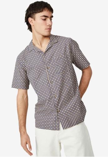 Cotton On navy Riviera Short Sleeve Shirt 3D1CCAA1744A1AGS_1