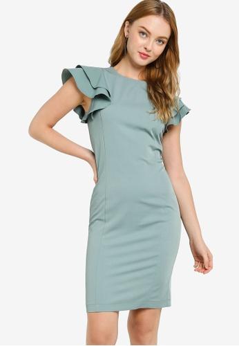 ZALORA WORK green Ruffle Sleeve Shift Dress DB711AAB4C869DGS_1