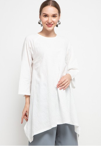 FAV white 3/4 Sleeve Drap Tunic B322FAA98F0FAAGS_1