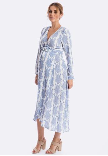63ff6c141e2e0 Maive & Bo blue Harlow Maternity Dress in Vintage Belle Long Sleeve  46E60AA8577C3DGS_1