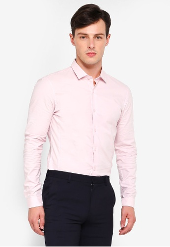 Topman pink Pink Muscle Fit Smart Long Sleeve Shirt FF5BFAA7F6C326GS_1