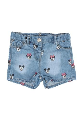 OVS blue All-Over Minnie Mouse Print Denim Shorts 28A4AKA27DFDB9GS_1