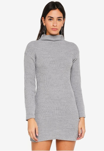 MISSGUIDED grey High Neck Cosy Knitted Mini Dress 75B40AA5B5AB8FGS_1
