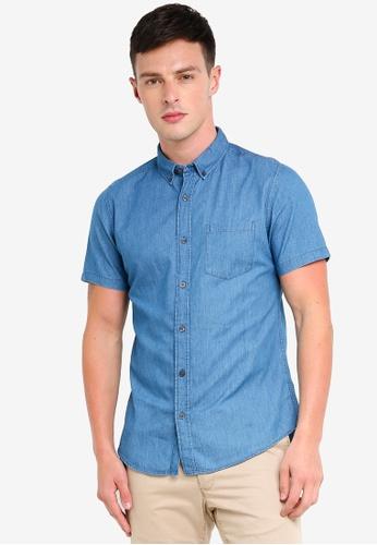 Burton Menswear London 藍色 Mid Wash Short Sleeve Denim Shirt 84D77AAE4726A3GS_1