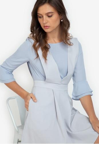 ZALORA WORK multi Flare Sleeve Pinafore Dress 219B8AA788FE35GS_1
