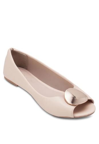 Clover 簡約金飾zalora 手錶 評價露趾平底鞋, 女鞋, 魚口鞋