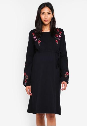 Mama.licious black Maternity Ljen L/s Jersey Dress A6C0BAA74D3AA4GS_1