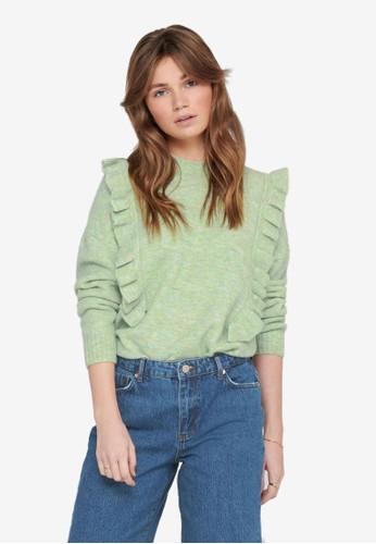 JACQUELINE DE YONG green Ziza Frill Pullover Knit Sweater 99B65AAD548776GS_1