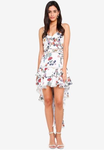 MDSCollections multi Gardenia Ruffled Dress In White Floral BA6C7AA8D8CAA9GS_1