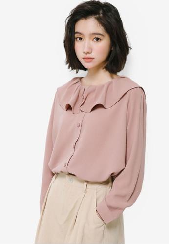 Shopsfashion pink Ruffles Collar Blouse A8402AAFD1E9B0GS_1