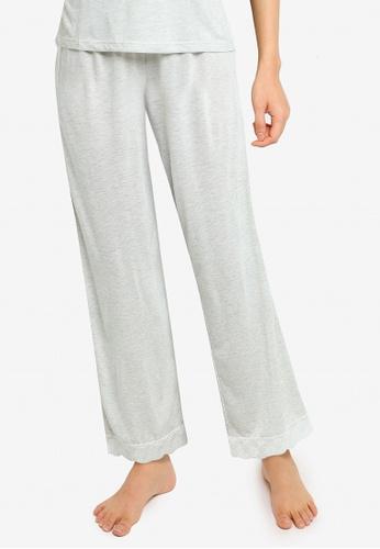 ZALORA BASICS grey Lounge Lace Trim Jersey Long Pants 11359AAD640349GS_1