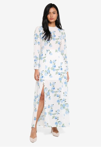 Miss Selfridge white Petite While Floral Print Maxi Dress 3745AAA416A13CGS_1
