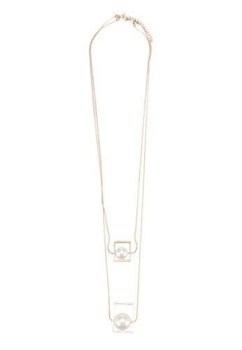 雙環珍珠方框吊墜項esprit outlet台北鍊, 飾品配件, 飾品配件