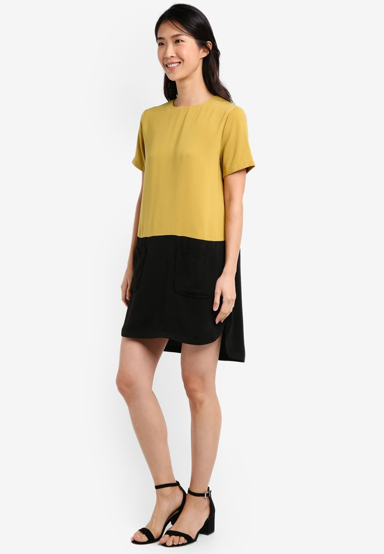 Citrus Dress Black Pocket ZALORA Patch Colorblock XwBnIHqEB